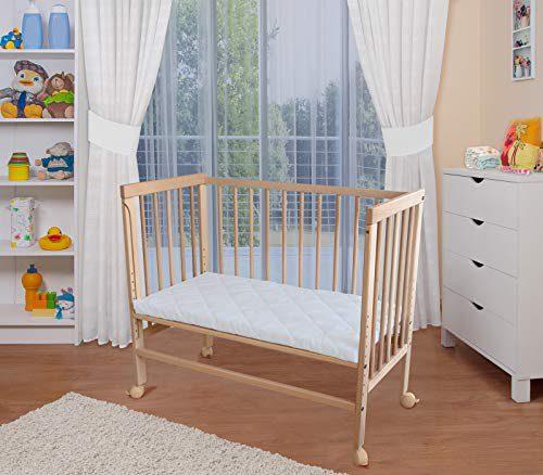 WALDIN Berceau de couchage pour bébé, lit pour bébé, réglable en hauteur, naturel sans traitement ou laqué en blanc, naturel sans traitement