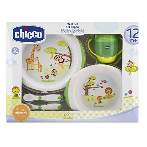 Chicco - Service de vaisselle pour enfants (assiettes, couverts et verres), 12m+.