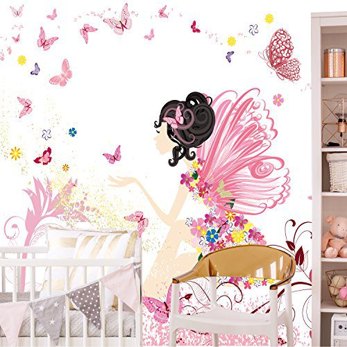 Papier peint enfant 274 x 254 cm Pépinières Fotomurales pépinières de fleurs féeriques papillons filles enfants roses Incluant de la colle déco livingdecoration
