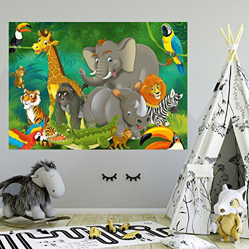 Papier peint enfant 183 x 127 cm Animaux Safari Safari Jungle Garçons Garçons Enfants Eléphants Photomurales Incluant Colle Décoration de vie