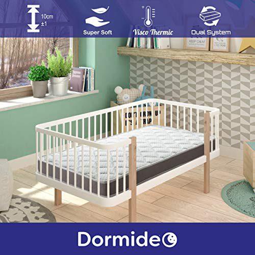 Matelas DORMIDEO Lit bébé viscoélastique BabyBed - Deux côtés hygiéniques, respirants et antidérapants