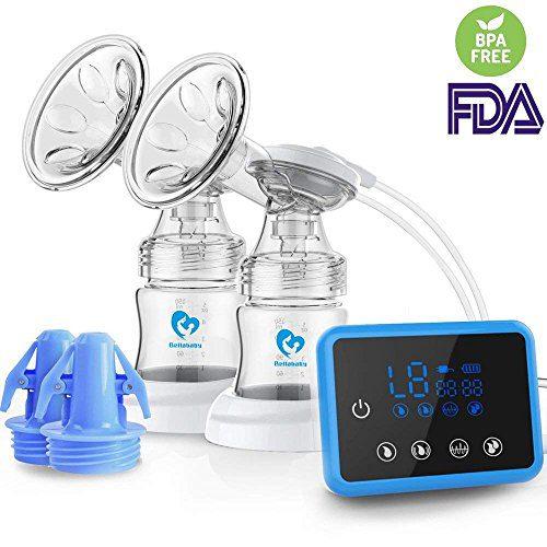 Tire-lait électrique, Bellabababy Tire-lait / Extracteur avec double aspiration Massage des seins avec écran tactile LED (avec 10 minutes à...