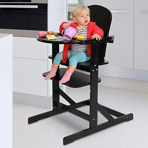 Chaise haute en bois pour bébé | 57,5/102/76 cm, charge 15 kg | Hauteur réglable en 3 positions | Couleur....