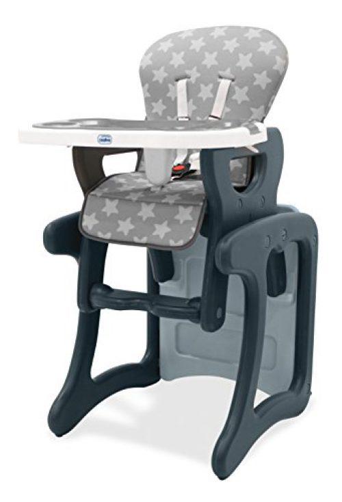 Asalvo Activity - Chaise haute évolutive pour bébé, design étoile, couleur grise