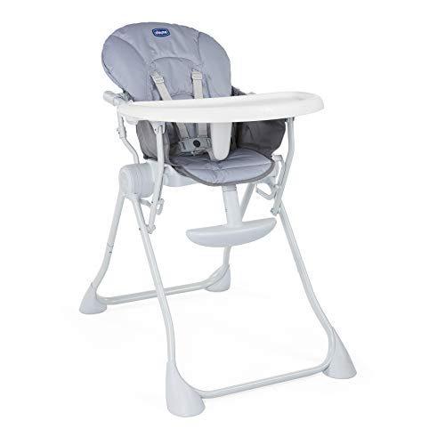Chicco Pocket Meal - Chaise haute légère et compacte pour enfants de 0 à 3 ans, grise (Nature)