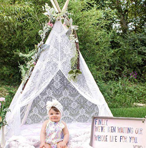 Tente pour enfants Tipi Terre Minuscule Tipi Extérieur Tente pour enfants Intérieur, Tipi en dentelle de Bohême (150cm de haut)