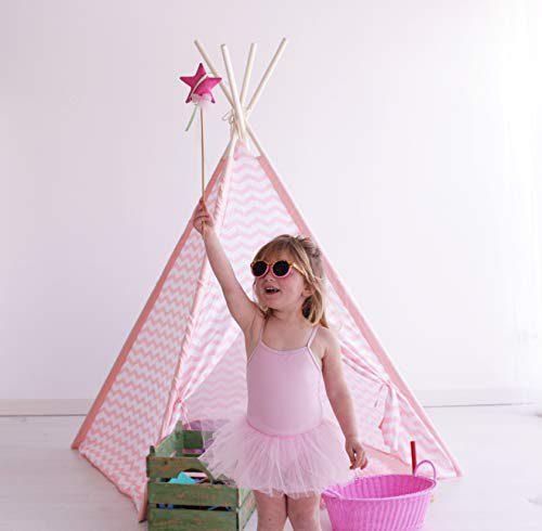 Kiddus Shop Tipi Ensemble symbolique Décoration de chambre d'enfant Blanc et rose style nordique KI60121