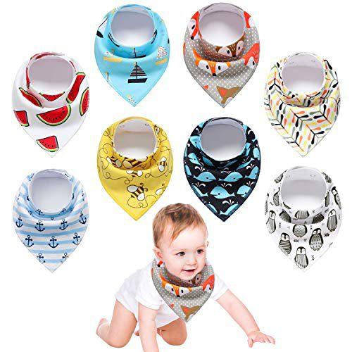 Bavoirs Bavoirs Yetech 8pcs Baby Bavoirs Bandanas, 100% coton biologique, doux et absorbant, Bavoirs Bandana pour nouveau-né et....