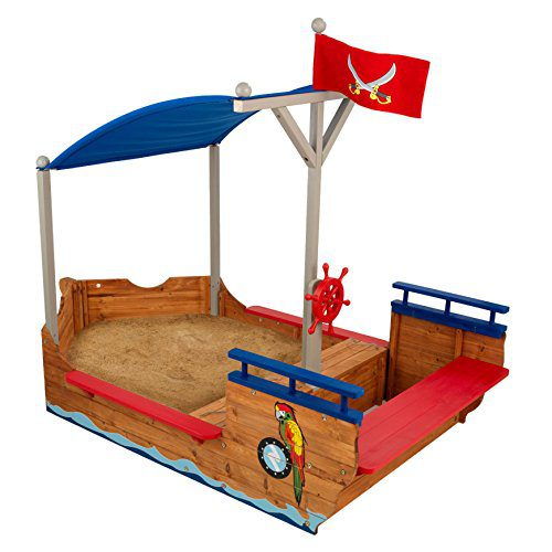 KidKraft 128 Boîte de sable KidKraft 128 Galion Pirate Pirate en bois pour enfants, jardin et extérieur