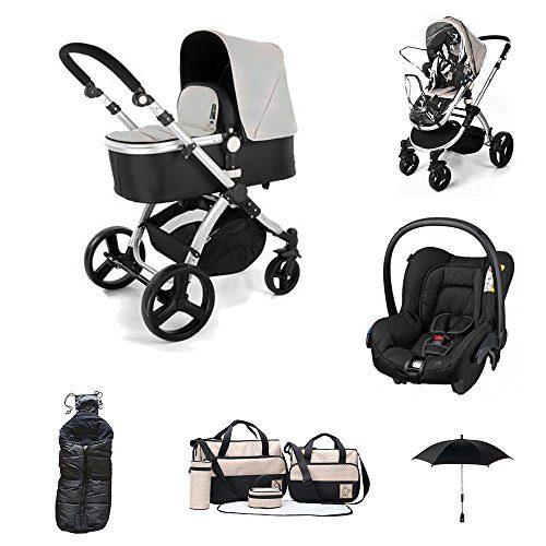 Poussette 3 en 1 Go Baby Neo (Chaise avec Carrycot + Groupe 0 + Polar Pole + Sac à main +...