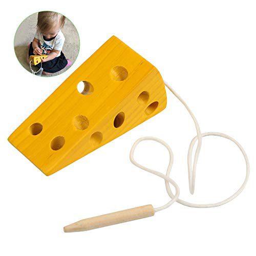 BelleStyle Montessori Activité Jouet en bois au fromage, Enfants Enfants Apprentissage éducatif précoce Casse-tête de jouets en blocs de bois
