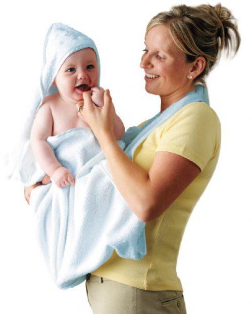 Serviette de bain bébé Clevamama avec capuche - Couche de bain enfant - Bleu
