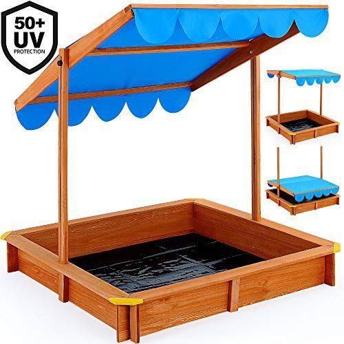 Bac à sable Deuba pour enfants avec toit pivotant réglable et moquette 120 x 120 cm de protection UV 50 Aire de jeux pour enfants avec...