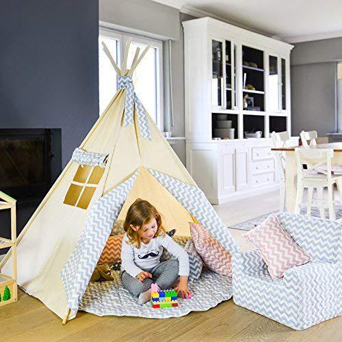 Zig Zag Bleu Abitare Kids Kids Tipi. Tentes pour enfants avec 5 bâtons en bois, mesures 150x130 cm et....
