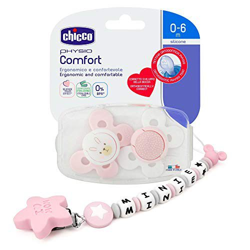 RUBY - Sucette personnalisée plus 2 sucettes CHICCO pour bébé avec boule antibactérienne en silicone avec étoile en forme de...