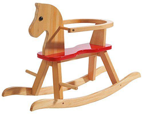 Cheval à bascule roba, jouet balancin fini en bois massif naturel et laqué rouge, cheval balancin pour petits enfants avec...