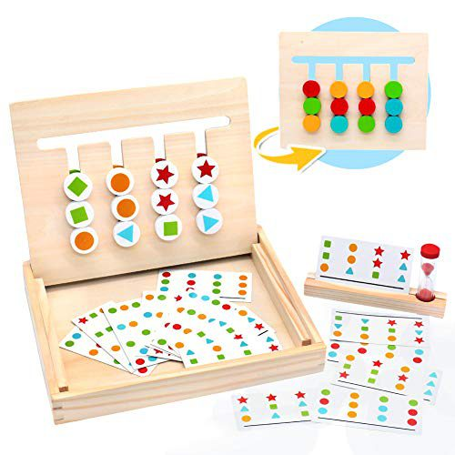 Symiu jeu en bois de classification Montessori jeu avec des cartes de modèle et de couleur Disque en bois Puzzle Toy pour....