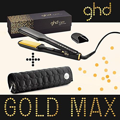 Ghd - Styler Max Redresseur de cheveux en or, plaque de céramique large, inclut étui rond Ghd