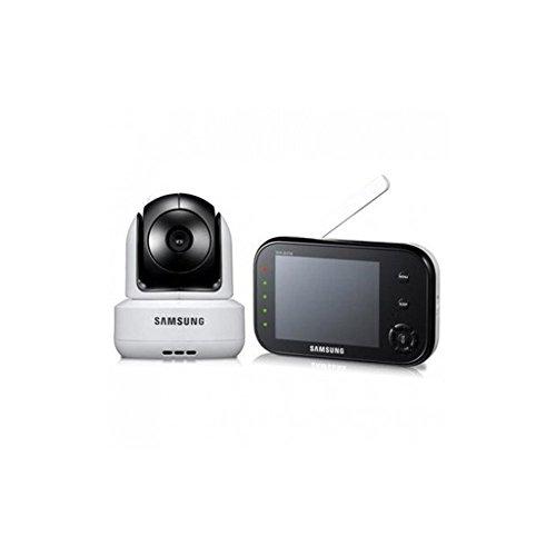 Samsung SEW-3037 - Système de surveillance pour bébé (8,9 cm/ 3,5 pouces, écran LCD, supporte jusqu'à 4 caméras, QVGA, capteur CMOS, vision nocturne), couleur blanche
