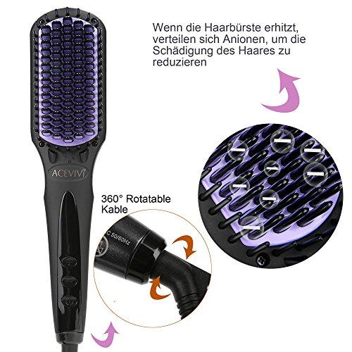 ACEVIVI Brosse Lisseur de cheveux électrique automatique ACEVIVI Brosse à cheveux écran LCD Brosse à cheveux....