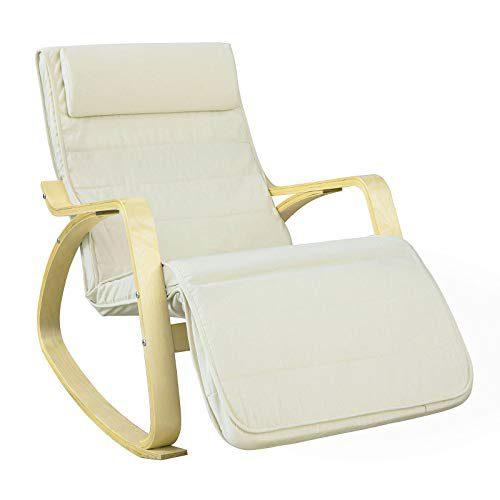 SoBuy Chaise relax, fauteuil à bascule (repose-jambes réglable), fauteuil relax FST16-W (beige) (fauteuil à bascule)