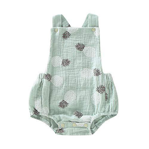 Baiomawzh Baby Monkey Singe Nouveau-né Enfants Singe d'été Singe d'été Mamelucos sans manches avec impression ananas Pyjamas Vêtements bébé filles....
