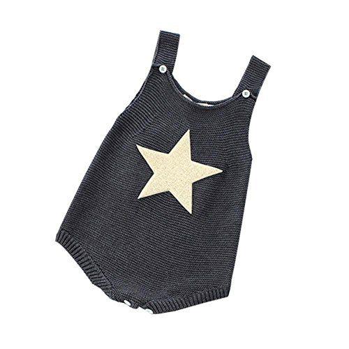 Longra Clothes Baby Unisexe Automne Automne Hiver Nouveau-né Manches Courtes Peaux Mignonnes Tricotées (3M, (x) Gris)