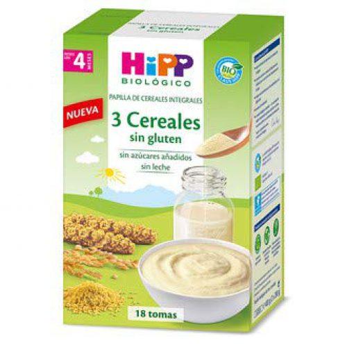 Bouillie biologique 3 céréales sans gluten 4M HiPP, 400 g