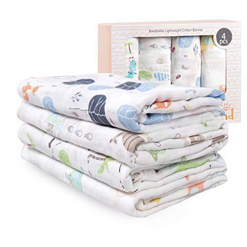 Couvertures en Mousseline de Bambou Coton, Pack de 4, Couvertures bébé 120x120 cm