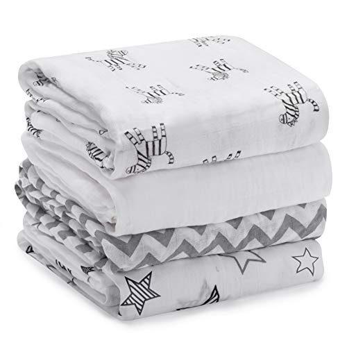 Couvertures Bébé Swaddle Couvertures Mousseline Wrap 120cm x 120 cm - Momcozy Multipurpose Pack de 4 grandes couvertures carrées pour...