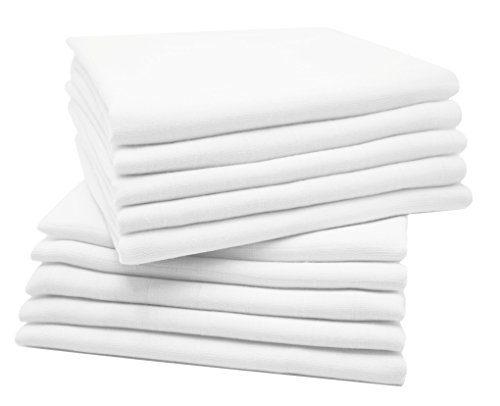 Zollner 10 mousseline bébé, 100% coton, 80x80 cm, blanc
