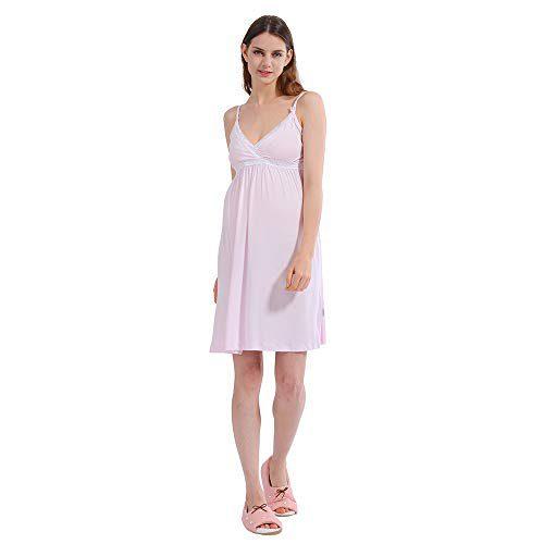 i-baby Nuisette d'allaitement Vêtements Premam's Clothing Maternity Dress Pajamas Femme enceinte Allaitement d'été 2 en 1 (Rose clair, M)