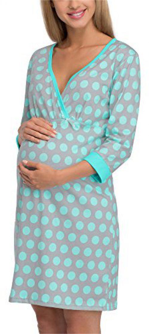 Cornette Premama Nuisette Nuisette d'allaitement Robe Femme Maison 652/12 (Gris/Turquoise, XL)