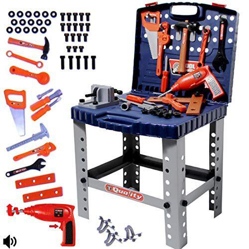 deAO Convertible Tool Case / Folding Workshop - Comprend des outils, des accessoires et une perceuse électrique pour jouets
