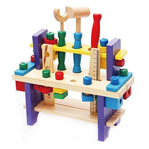Kit de jouets en bois Kit d'outils Workbench Construction Kit de menuiserie Kit de menuiserie Menuiserie Formation intellectuelle pour les enfants de la....