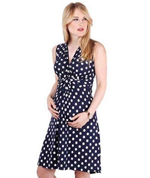 KRISP 6147-NVYWHT-10 (Robe de maternité froncée)