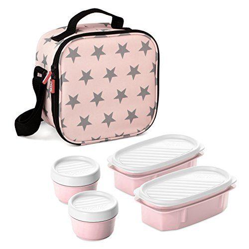 TATAY Urban Food Stars - Sac de transport pour aliments thermiques avec boîtes à lunch incluses, couleur rose pâle