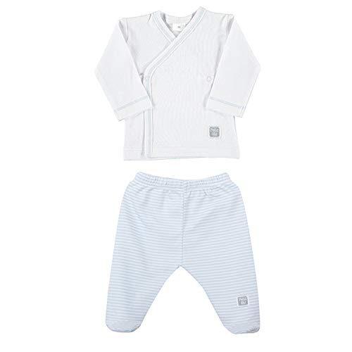 Petit Oh ! - Première Pose 100% coton Pima Set Taille 0-3 Mois Couleur Blanc et Céleste rayé Céleste