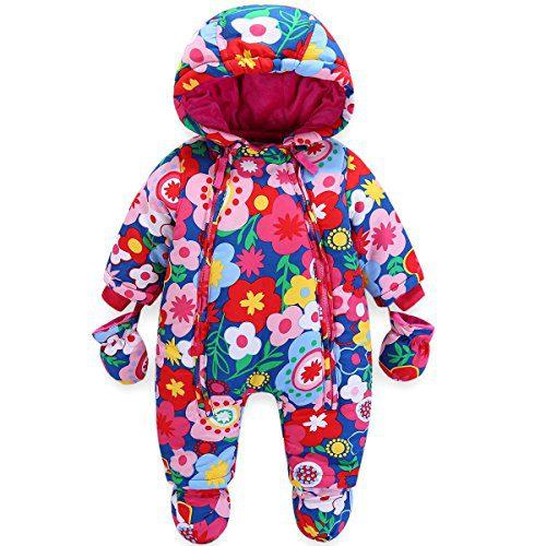 JiAmy Baby Girls - Ensemble de vêtements d'hiver à capuche mamelouke avec combinaison de neige, gants et bottes...