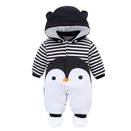 Ensemble Snowsuit Bébé Peaux à capuchon Chaussures Vêtements d'hiver Ensemble Garçons Dessin animé Mamelouk, Pingouin 6-9 Mois
