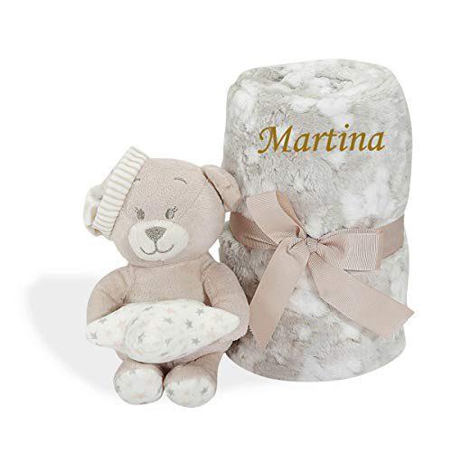 Couverture d'ours personnalisée avec nom brodé - Cadeau nouveau-né - - Danielstore - - Couverture d'ours personnalisable