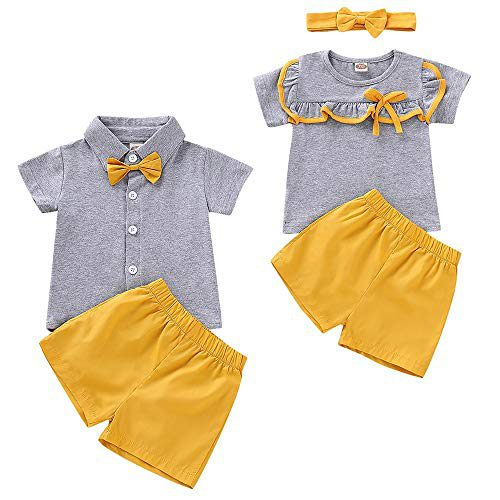 T-Shirt manches courtes pour bébé T-Shirt Haut Pantalon court Conjuncts à porter par frère et soeur (3-6 mois, soeur)