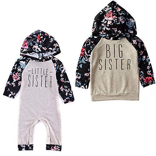 Puseky Baby Girls Big Little Sister Combinaison assortie Sweatshirt Floral à capuche Top Romper Jumpsuit (Couleur : Gris, Taille...