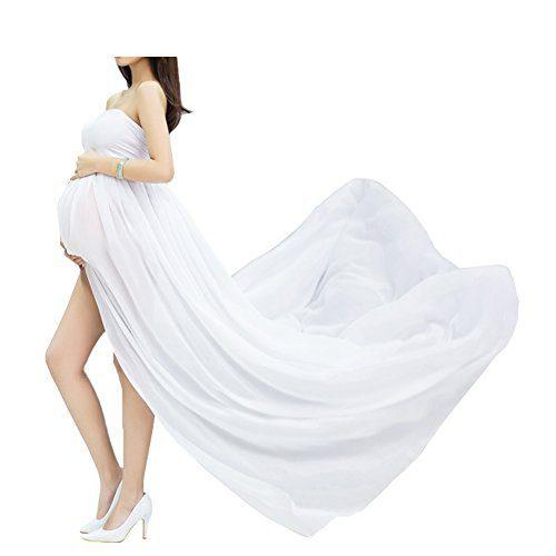 Jupes de maternité de maternité fendues de robe de maternité de robe de pousse de photo de vue avant de robe de pousse de photo de maternité (blanches)