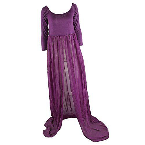 Gazechimp Costume Vêtements Gaze Manches Longues Accessoires Photographie Femmes Enceintes - Violet, Taille Unique