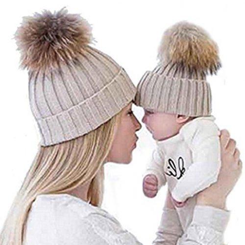 Casquettes en tricot Sannysis 2PCS Casquette d'hiver pour mère et bébé (Kaki)