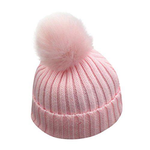 VENMO Bébé Garçons Filles Bonnet d'hiver Bonnet Tricot chaud Bonnet Bonnet Chapeau Ball Ball Hats (Rose)