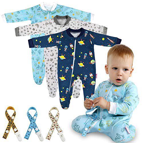 Pyjama Lictin 6 Pieces Baby - Pyjama - Coton Mamluk avec fermeture éclair et points adhésifs antidérapants pour les pieds, Star Paint....
