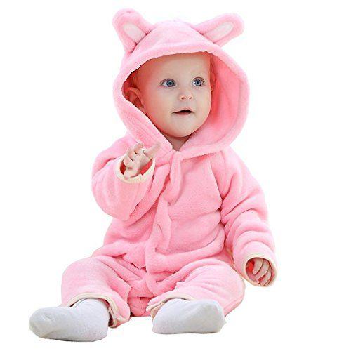 MICHLEY Vêtements Bébés Ours Pelélé des Garçons Filles de l'Automne et de l'Hiver Unisexe Pijama Rose - 70cm