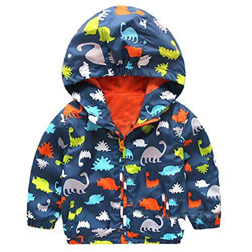 Veste Logobeing Boy avec capuche, Dinosaures Dessins à capuche d'hiver Manteaux Sweatshirt Manteau Manteau Chaud Manteau Vêtements (Marina, 120)
